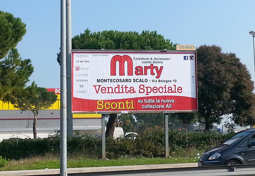 Vendita promozionale marche cartellone
